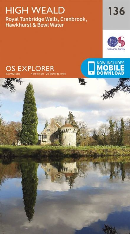 OS Explorer 136 - High Weald, Royal Tunbridge Wells, Cranbrook, Hawkhurst & Bewl Water